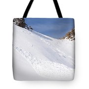 A Small Slab Avalanche With Two Guides Tote Bag