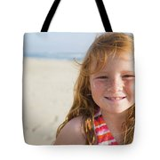 A Smiling Young Girl Enjoys A Sunny Tote Bag