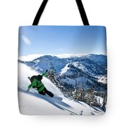 A Snowboarder Making Some Fresh Tracks Tote Bag