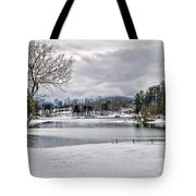 A Snowy Day On Lake Chatuge Tote Bag