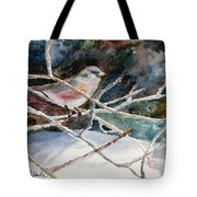 A Snowy Perch Tote Bag