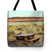 A Solitary Wooden Picnic Bench Tote Bag