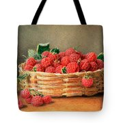 A Still Life Of Raspberries In A Wicker Basket  Tote Bag