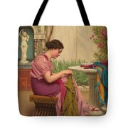 A Stitch Is Free Or A Stitch In Time 1917 Tote Bag by John William Godward