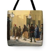 A Street Scene, Outside A Prison, 1868 Oil On Canvas Tote Bag