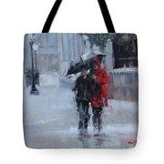 A Stroll In The Rain Tote Bag by Laura Lee Zanghetti