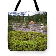A Summer Day Camping At The Foot Of Mt Tote Bag