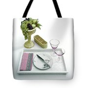 A Summer Table Setting On A Tray Tote Bag