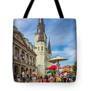 A Sunny Afternoon In Jackson Square Oil Tote Bag by Steve Harrington