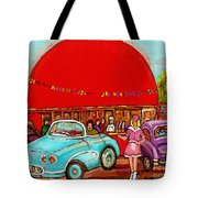 A Sunny Day At The Big Oj- Paintings Of Orange Julep-server On Roller Blades-carole Spandau Tote Bag