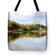 A Sunny Day's Reflections At The Lake House Tote Bag
