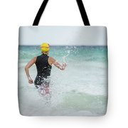 A Swimmer Running To The Ocean Tote Bag