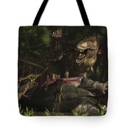 A T-rex Returns To His Kill And Finds Tote Bag