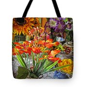 A Table Of Flowers Tote Bag