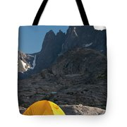A Tent Is Dwarfed By The High Peaks Tote Bag