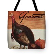 A Thanksgiving Turkey And Pumpkin Tote Bag