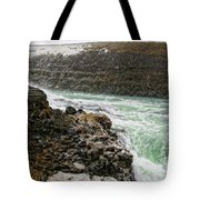 A Tourist Takes A Photo At Gullfoss Tote Bag