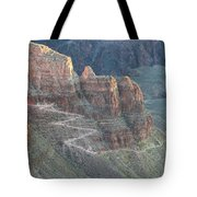 A Trail Winds Its Way Down A Steep Tote Bag