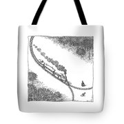 A Train Heads Toward A Tied Up Victim Traveling Tote Bag