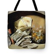 A Trompe Loeil Of Paper Money Coins Tote Bag by French School