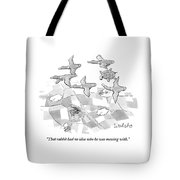 A Turtle Flying With A Flock Of Birds Turns Tote Bag by Liam Walsh