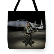 A U.s. Air Force Pilot Stands In Front Tote Bag