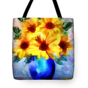 A Vase Of Sunflowers Tote Bag by Valerie Anne Kelly