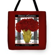 A Vase With Red Roses Tote Bag