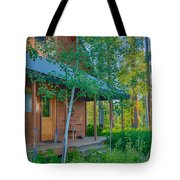 A View Of A Cottage With Aspen Trees Tote Bag
