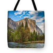 A View Of El Capitan From The Merced River Tote Bag