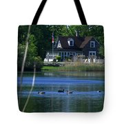 A View Of Some Ducks Enjoying Round Pond At The United States Military Academy Tote Bag