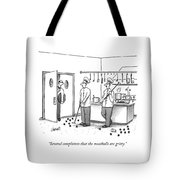 A Waiter Speaks To Two Chefs In A Kitchen Who Tote Bag