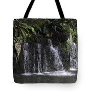 A Waterfall As Part Of An Exhibit Inside The Jurong Bird Park Tote Bag