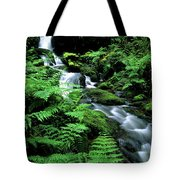 A Waterfall In Redwood National Park Tote Bag