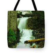 A Waterfall In Spring Thaw Tote Bag by Jeff Swan