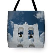 A Whitewashed Bell Tower And Dramatic Tote Bag