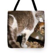 A Wild Cat Catching A Chipmunk Tote Bag