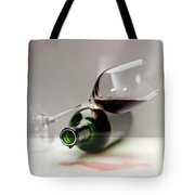 A Wine Bottle And A Glass Of Wine Tote Bag