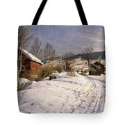 A Winter Landscape Lillehammer Tote Bag by Peder Monsted