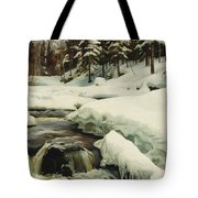 A Winter Landscape With A Mountain Torrent Tote Bag