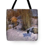 A Winter Landscape With Children Sledging Tote Bag