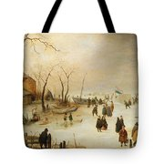 A Winter River Landscape With Figures On The Ice Tote Bag