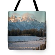 A Winter Scene Of A Snowy Field, Fence Tote Bag