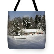 A Wintery Look Up A Driveway On Conifer Drive Tote Bag