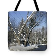 A Wintery View Along Charlton Road Tote Bag