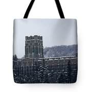 A Wintery View Of The Cadet Chapel At The United States Military Academy Tote Bag