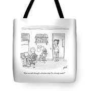 A Woman Addresses Her Husband In His Home Office Tote Bag by Tom Toro