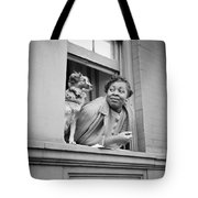 A Woman And Her Dog Tote Bag