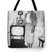 A Woman And Her Tv Tote Bag
