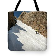 A Woman Descending A Snow Slope While Tote Bag